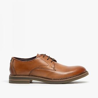 Base London Wayne menns Leather Derby sko polert Tan