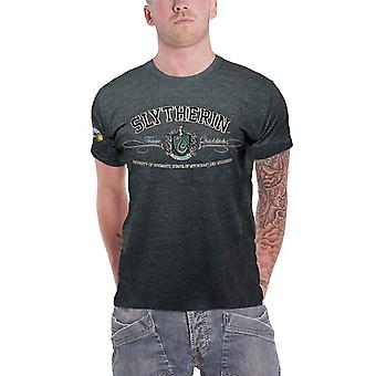 Harry Potter T Shirt Slytherin House Crest Applique Logo Official Mens Green