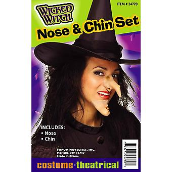 Wicked Witch Wart Halloween Women Costume Prosthetic Nose & Chin