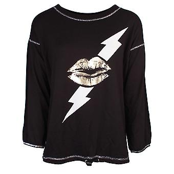 Sundae Tee Vesper Black Foil Lips Sweater