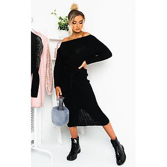 IKRUSH Damen Nicole Off Schulter gestrickt Pullover Kleid