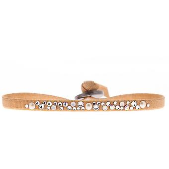 Armband verwisselbaar A36710 - stof oranje vrouw Swarovski kristallen armband