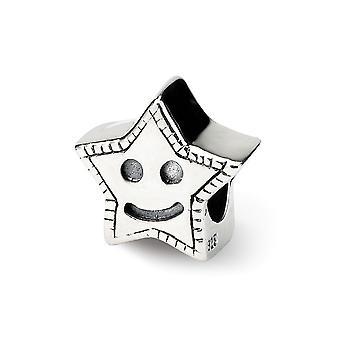925 Sterling Silver Polerad finish Reflektioner Kids Smiley Star Bead Charm Hängande Halsband Smycken Gåvor för kvinnor