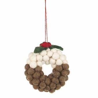 Felt Mini Christmas Pudding Wreath Decoration| Gifts From Handpicked
