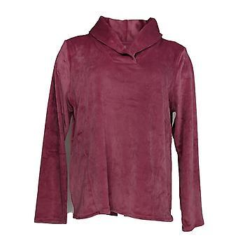 Cuddl Duds Women's Petite Pyjama Top Ultra Pluche Velvet Fleece Roze A369297