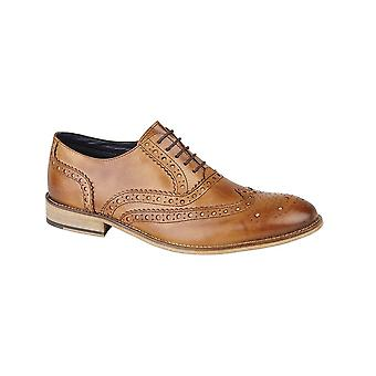 Roamers Tan Leather 5 Eyelet Brogue Oxford Textile Lining & Pu Sock Tunit Sole