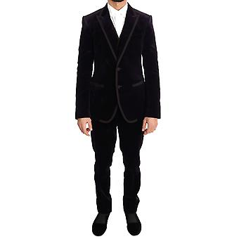Dolce & Gabbana Purple Velvet Slim Fit Two Button Suit