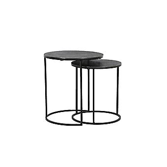 Light & Living Side Table Set Of 2 41x46 And 49x52cm Rengo Texture Black Nickel