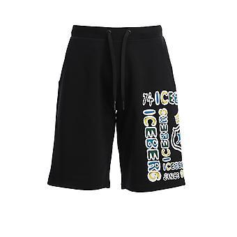 Iceberg D01263119000 Men's Black Cotton Shorts
