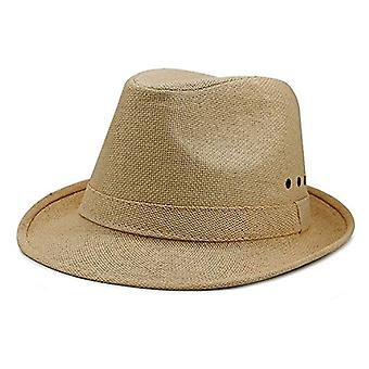 Unisex Søn Beskyttelse Straw Top Hat Lover Summer Beach Knight Sunhat, Mørk-Khaki