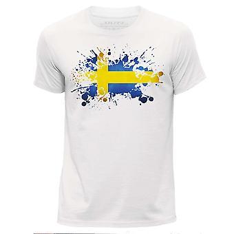 STUFF4 גברים ' של חולצת צוואר עגול/שבדיה/דגל שוודי מעיכה/לבן