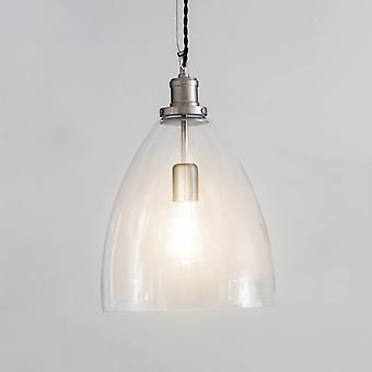 Garden Trading Hoxton Large Bullet Glass & Satin Nickel Pendant Light