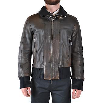 Bikkembergs Ezbc101074 Men's Brown Leather Outerwear Jacket