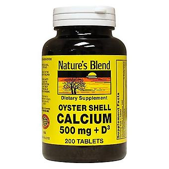 Nature's blend oyster shell calcium, 500 mg, with d3, tablets, 200 ea