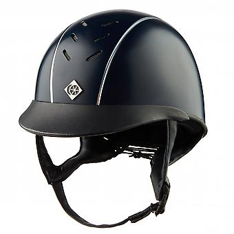 Charles Owen Ayrbrush Riding Helmet - Navy/silver Pinstripe