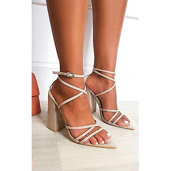 IKRUSH Womens Minnie Strappy Block High Heels