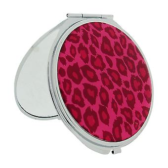 FMG Silver Plated Mirror Pink Cheetah Print Designed Cover With True & Magnification Image SC1428