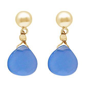 Gemshine örhängen rök blå chalcedony droppe 925 silver, guldpläterade eller ros