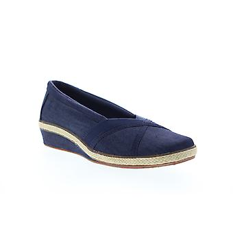 Grasshopper Misty Wedge  Womens Blue Canvas Slip On Loafer Flats Shoes