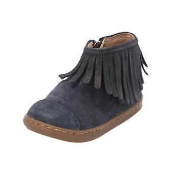 Shoo Pom Bouba Fringe Kids Girls Boots Blue Lace-Up Boots Winter