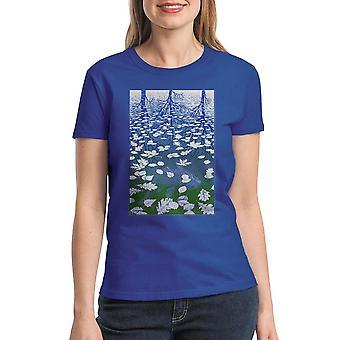 M.C. Escher Fish Pond  Women's Royal Blue T-shirt