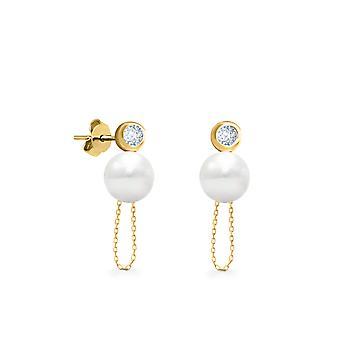 Boucles d'oreilles Daisy Chain Diamonds 0.10 carat, 18 K Or et Perles