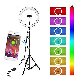 Led phone holder photography selfie ring fill light kit selfie stick tripod for video makeup photos