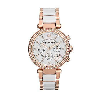 Michael Kors Parker MK5774 Ladies' Chronograph Watch - White and Rose Gold