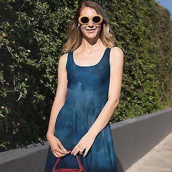 Skater Dress | Watercolor in Dark Blue
