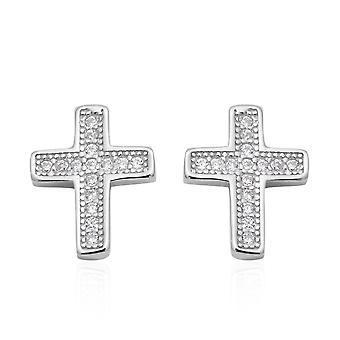 ELANZA Simulated Diamond (Rnd) Cross Earrings Push Back in Rhodium Plated Silver