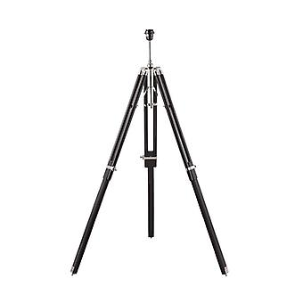 Tripod Floor Lamp, Dark Wood And Shiny Nickel, Without Lampshade