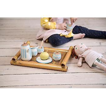 Sebra - dolls tea set - classic white/dusty teal
