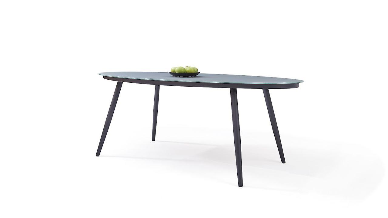 Table alu verre dépoli 200 cm, ovale - anthracite