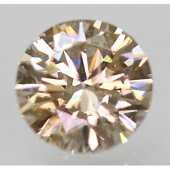 Cert 0.75 Carat Light Brown VS2 Round Brilliant Enhanced Natural Diamond 5.83mm