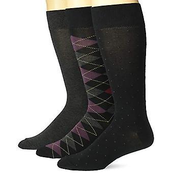 Brand - Buttoned Down Men's 3-Pack Pima Cotton Pattern Dress Socks, Ar...
