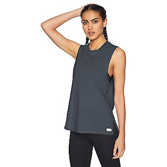 Core 10 Women's Relaxed Fit Plus Size Cotton Blend Gym Muscle Sleeveless Tank, Dark Grey Heather, 2X