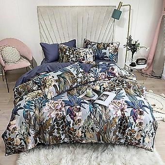 Pure Egyptian Cotton Tropical Leaves Flowers Print King And Queen Size Bedding