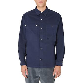 Kenzo Fa65ch5151ta77 Men's Blue Cotton Shirt