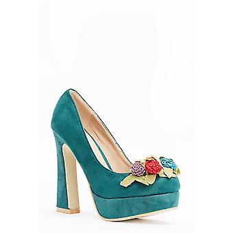 Embellished Flower Block Heels