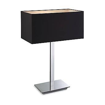 Firstlight Prince - 1 Lampe de table légère Polis S/Steel, Noir, E27