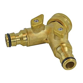 Faithfull 2 Way Shut Off Valve 19mm (3/4in) to 2 x 12.5mm (1/2in) FAIHOSE2WAY