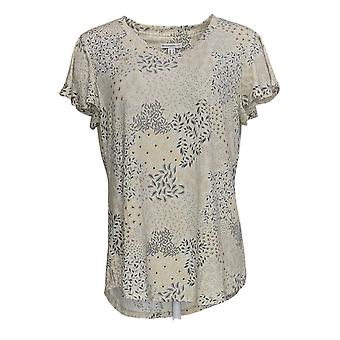 Isaac Mizrahi Live! Women's Top Mixed Ditsy Floral Beige A377030