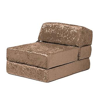 Chocolate Crushed Velvet Z Bed Single Size Fold Out Chairbed Sofa Seat Folding Futon Chair