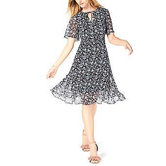 Maison Jules   Floral-Print Flutter-Sleeve Kleid