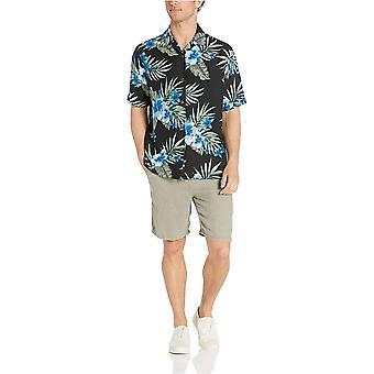 28 Palms Men's Relaxed-Fit Silk/Linnen Tropical Hawaiian Shirt, Black/Blue Hib...
