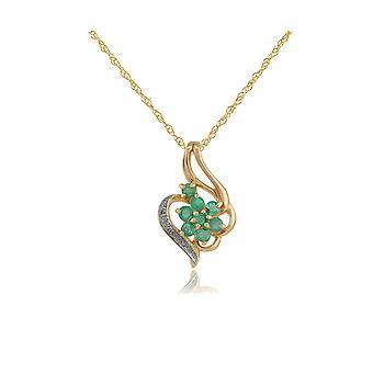 floral runde smaragd & diamant anheng halskjede i 9ct gult gull 129p0565059
