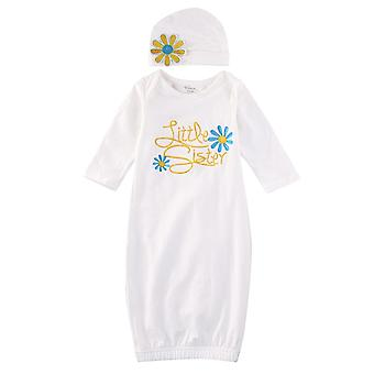 حديث الولادة الفتيات حديثي الولادة الفتيات طويل الأكمام ثوب النوم- ملابس النوم ثوب قبعة