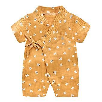Nouveau-né bébé Yarn Robe Floral Kimono Romper Jumpsuit Clothes Robe d'été
