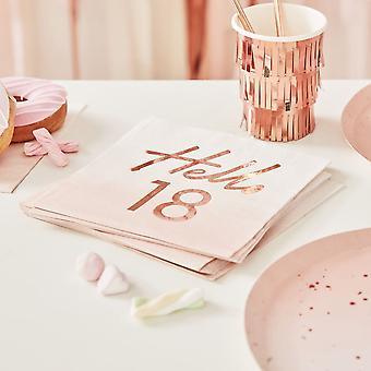 Hallo 18e verjaardag papieren partij servetten rose goud x 16