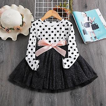 Kids Dresses- Autumn Winter Long Sleeve Polka Dots Soft Cotton, Clothing